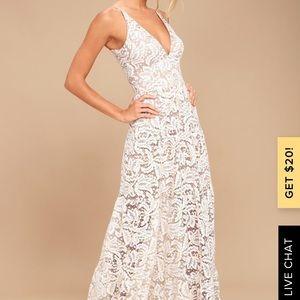 Dress the Population Melina White&Gold Maxi Dress